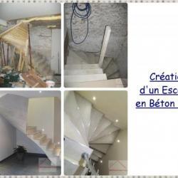 création escalier béton blanc