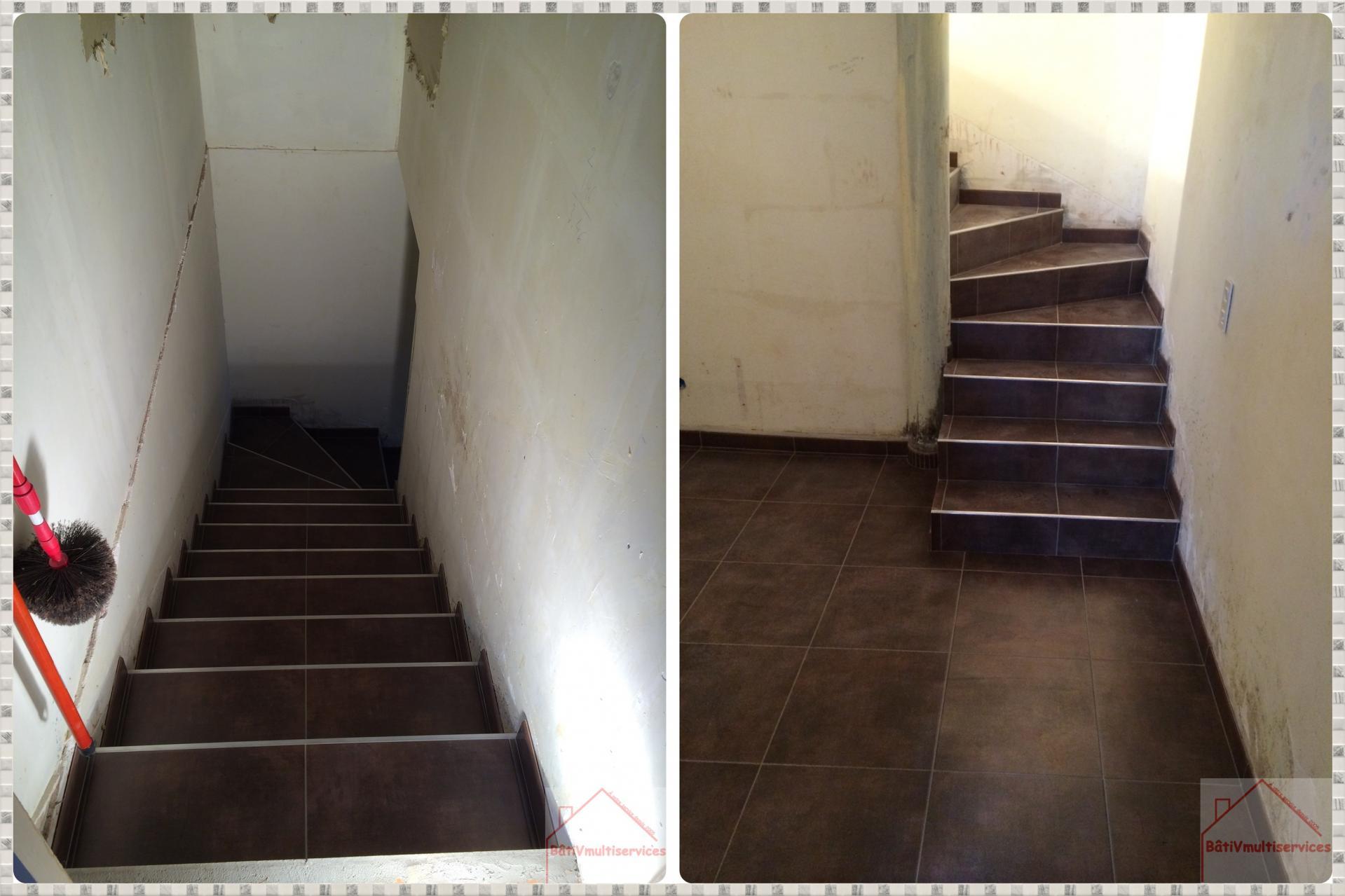 carrelage escalier et couloir